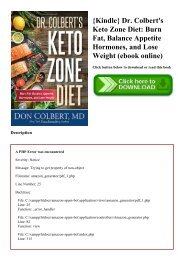 {Kindle} Dr. Colbert's Keto Zone Diet Burn Fat  Balance Appetite Hormones  and Lose Weight (ebook online)