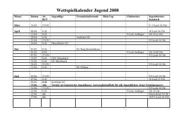 Wettspielkalender Jugend 2008 - Golfclub Haus Kambach e.V.