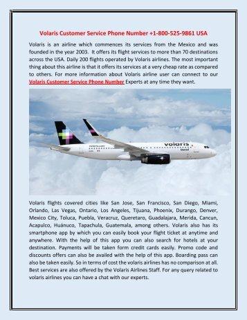 Volaris Customer Service Phone Number +1-800-525-9861 USA