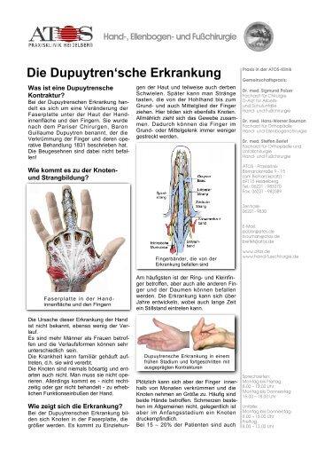 Die Dupuytren'sche Erkrankung - und Fußchirurgie