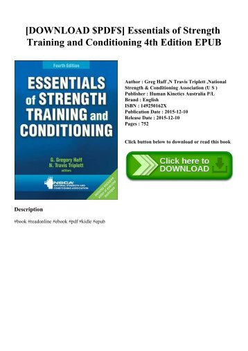 [DOWNLOAD $PDF$] Essentials of Strength Training and Conditioning 4th Edition EPUB