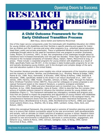 A Child Outcome Framework for the Early Childhood - TATS