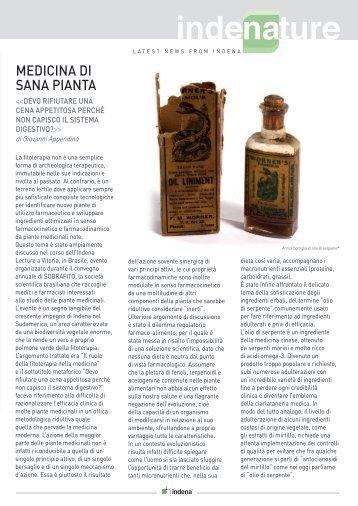 MEDICINA DI SANA PIANTA - Indena