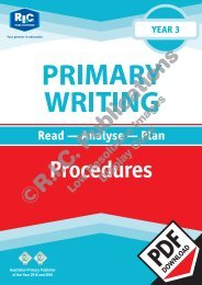 RIC-20200 Primary Writing Year 3 – Procedures
