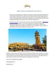 Jodhpur Taxi offers an Unforgettable Travel Experience