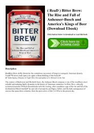 ( ReaD ) Bitter Brew The Rise and Fall of Anheuser-Busch and America's Kings of Beer (Download Ebook)