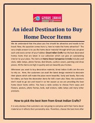 An ideal Destination to Buy Home Decor Items