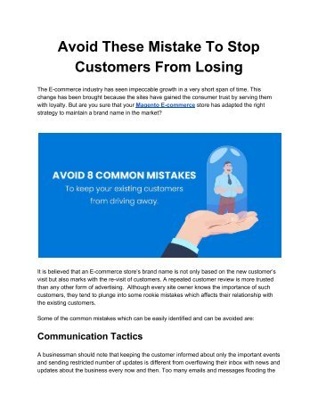 Avoid These Mistake To Stop Customers From Losing