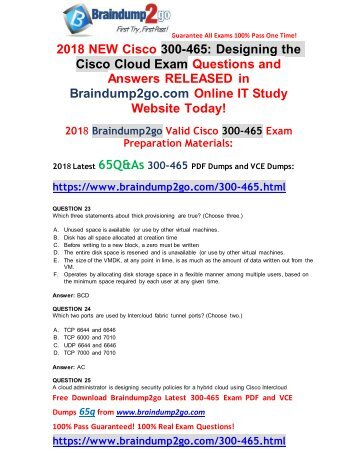 [2018-August-Version]New Braindump2go 300-465 Dumps with PDF and VCE Free Download(23-33)