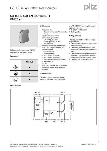 Up to PL c of EN ISO 13849-1