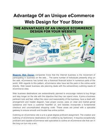 Advantage Of an Unique eCommerce Web Design for Your Store
