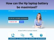How can the Hp Laptop Battery be Maximized
