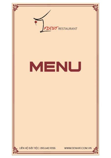 Menu nhà hàng Đệ Nhất