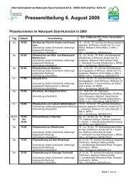 Pressemitteilung 6. August 2009 - Naturpark Saar-Hunsrück