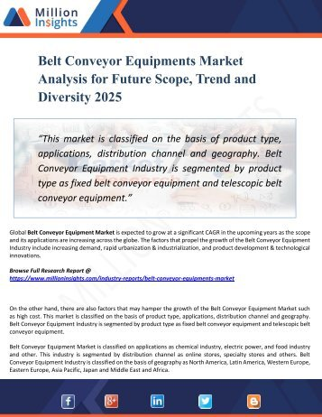 Belt Conveyor Equipments Market Analysis, Manufacturing Cost Structure, Growth Opportunities and Restraint 2025