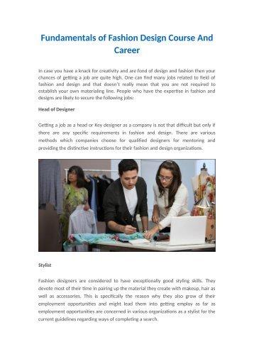 Fundamentals of Fashion Design Course & Career