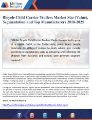 Bicycle Child Carrier Trailers Market Size (Value), Segmentation and Top Manufacturers 2018-2025