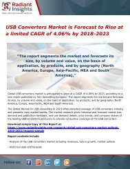 USB Converters Market is Forecast to Rise at a limited CAGR of 4.06% by 2018-2023