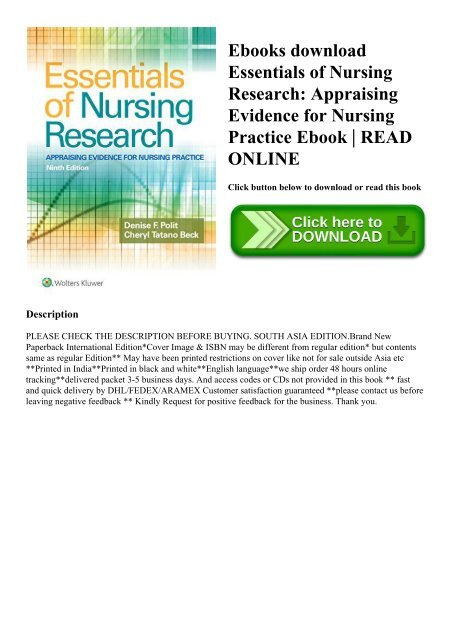 Ebooks Download Essentials Of Nursing Research Appraising