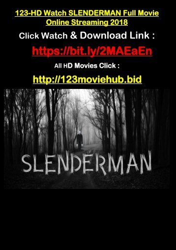 BUZZ-HD Watch SLENDERMAN Full Movie Online Streaming 2018 F-R-E-E TOP