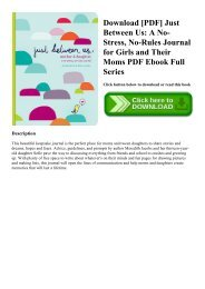 Download [PDF] Just Between Us A No-Stress  No-Rules Journal for Girls and Their Moms PDF Ebook Full Series