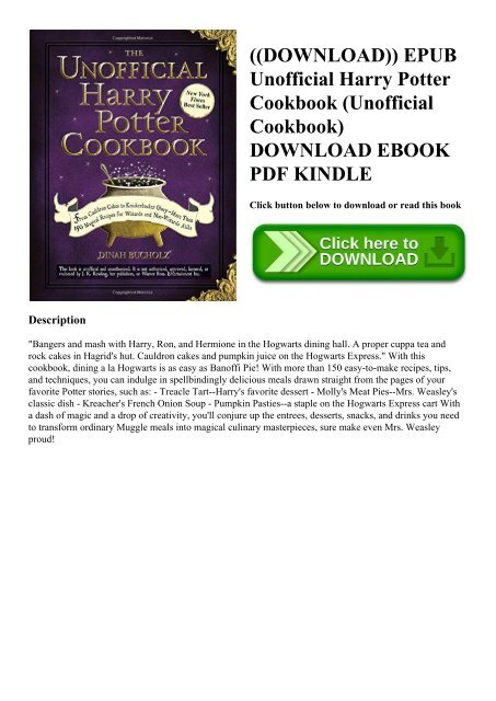 the unofficial harry potter cookbook free download