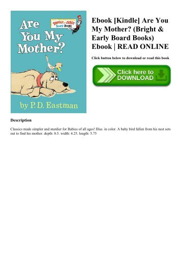 Ebook [Kindle] Are You My Mother (Bright & Early Board Books) Ebook  READ ONLINE