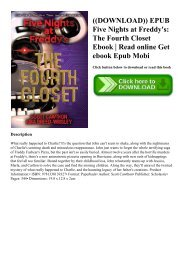 ((DOWNLOAD)) EPUB Five Nights at Freddy's The Fourth Closet Ebook  Read online Get ebook Epub Mobi