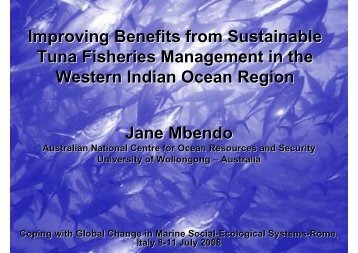 Improving Benefits from Sustainable Tuna Fisheries Management in ...