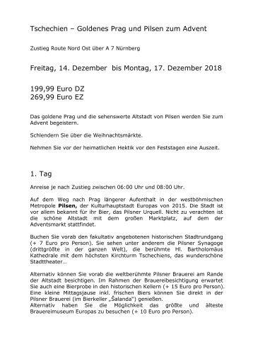 Tschechien - Prag und Pilsen - Busreise zum Advent - 14. bis 17. Dezember 2018 - KUS Reisen 73107 Eschenbach und 73035 Goeppingen
