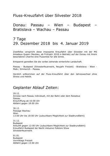 Donau über Silvester - 7 Tage Flusskreuzfahrt - 29.12.2018 bis 04.01.2019 - KUS Reisen 73107 Eschenbach und 73035 Göppingen