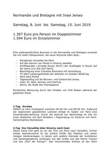 Frankreich - Normandie und Bretagne - Busreise - 8. bis 15. Juni 2019 - KUS Reisen 73107 Eschenbach und 73035 Goeppingen