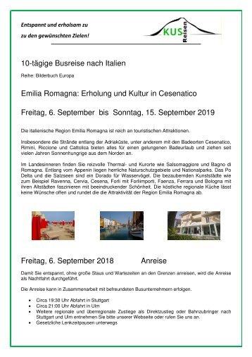 Italien - Emilia Romagna - Cesenatico - 10 Tage Busreise - 6. bis 15. September 2019 - KUS Reisen 73107 Eschenbach und 73035 Goeppingen