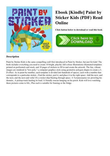Ebook [Kindle] Paint by Sticker Kids (PDF) Read Online