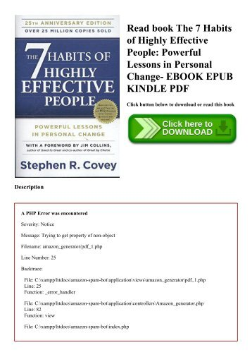 Read book The 7 Habits of Highly Effective People Powerful Lessons in Personal Change- EBOOK EPUB KINDLE PDF