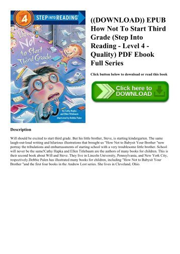 ((DOWNLOAD)) EPUB How Not To Start Third Grade (Step Into Reading - Level 4 - Quality) PDF Ebook Full Series