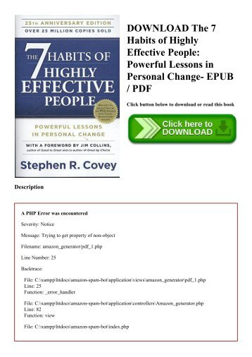 DOWNLOAD The 7 Habits of Highly Effective People Powerful Lessons in Personal Change- EPUB  PDF