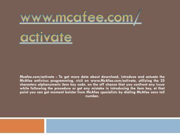 Mcafee.com/activate- Activate Mcafee Antivirus Product Online