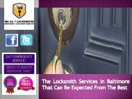 The Locksmith Services In Baltimore That Can Be Expected From The Best