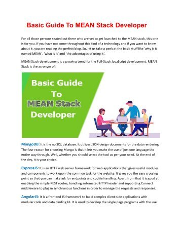 MEAN Stack Training in Hyderabad and Basic Guide To MEAN Stack Developer