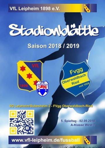 Stadionblättle SG Leipheim/Bubesheim 2 - FVgg Oberwaldbach-Ried