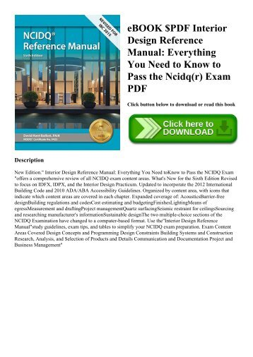 eBOOK $PDF Interior Design Reference Manual Everything You Need to Know to Pass the Ncidq(r) Exam PDF