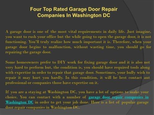 Four Top Rated Garage Door Repair Companies In ...