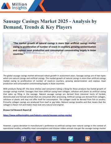 Sausage Casings Market 2025 - Analysis by Demand, Trends & Key Players