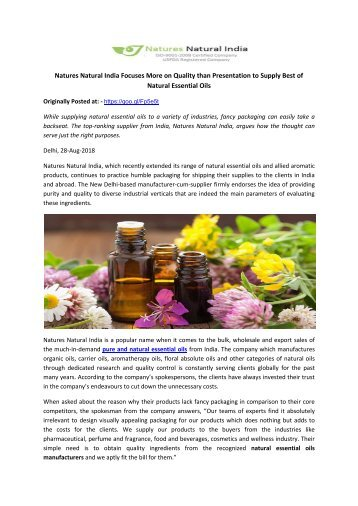 Natures Natural India Focuses More on Quality than Presentation to Supply Best of Natural Essential Oils