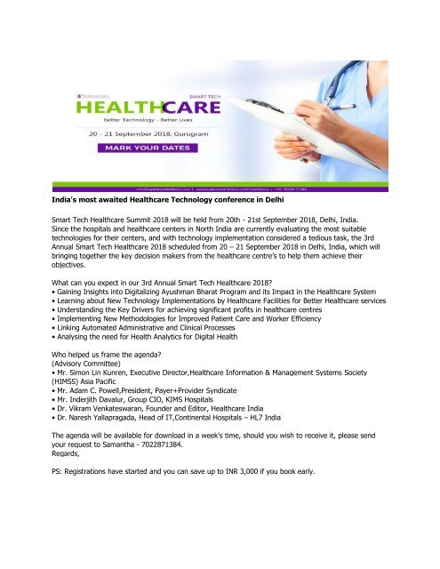 India's most awaited Healthcare Technology conference in Delhi