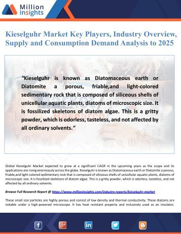 Kieselguhr Market Key Players, Industry Overview, Supply and Consumption Demand Analysis to 2025