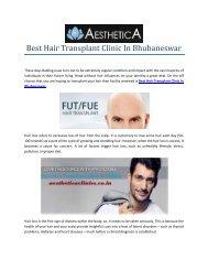 Best Hair Transplant Clinic In Bhubaneswar