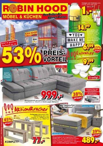 Jetzt im gesamten Sortiment bis zu 53 Prozent Preisvorteil! Robin Hood Möbel & Küchen, 78116 Donaueschingen
