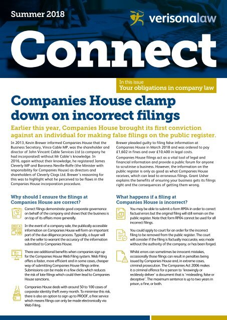 Connect | Summer 2018 | Companies House clamp down on incorrect filings